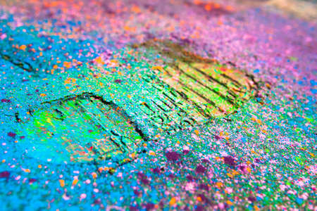 tred: Shoe print on colorful background. Closeup Stock Photo