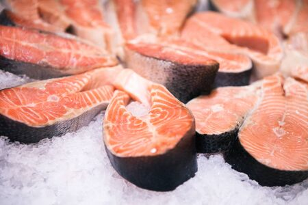 Fresh salmon with ice sold at local farm market