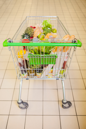 full shopping cart: Full shopping cart at store with fresh products.