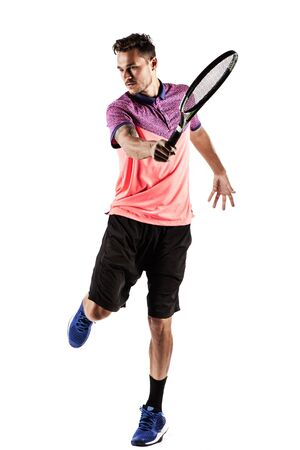 Young man  playing tennis isolated on white Stock Photo