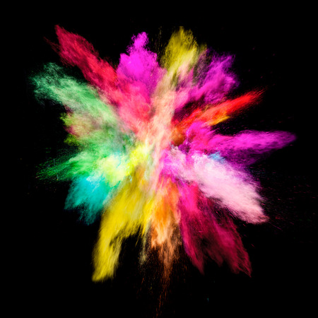 Freeze motion of colored dust explosion isolated on black background Stok Fotoğraf