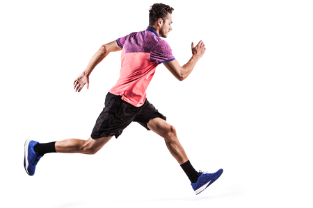 Fitness man running isolated on a white background