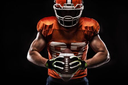 American football sportsman player on black background