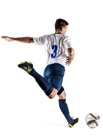 soccer player man isolated on white background Stock Photo