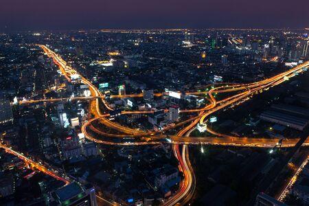 Bangkok Expressway and Highway top view, Thailand Standard-Bild