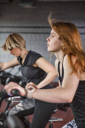 Sportive people while cardio training in gym. Stock Photo