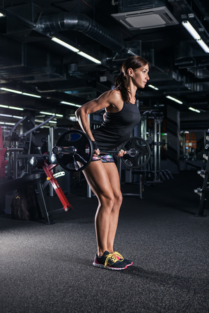 Athletic fitness woman pumping up muscles with barbell. Stock Photo