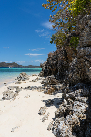Tropical Beach scenery with trees, white sand with rocks and turquoise ocean Stok Fotoğraf