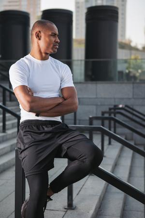 Portrait of sportsman ready to training. Banco de Imagens