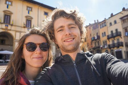 Young couple doing selfie. Travel. Lifestyle concept. Couple of young attractive tourists Archivio Fotografico