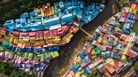 View from above of Colorful Village (Kampung Warna Warni) Jodipan and Tridi Village, Malang East Java, Indonesia, Asia