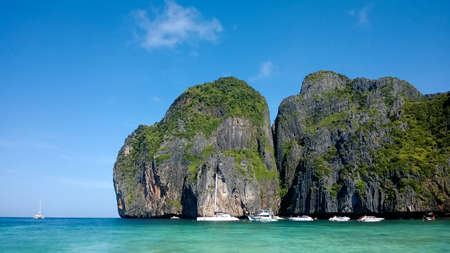 phi: Boats on the Phi Phi islands bay, Krabi, Thailand