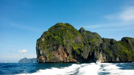 sailing boats: Sailing near the Phi Phi islands, Krabi, thailand Stock Photo