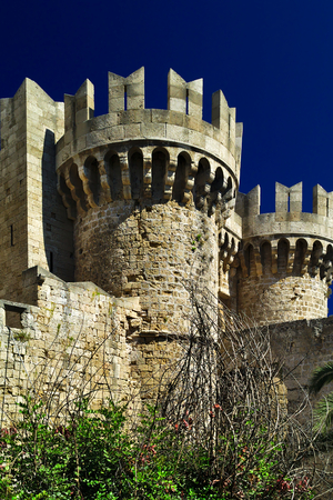 Cylindrical fortifications towers of the castle walls in rhodes island, Greece.