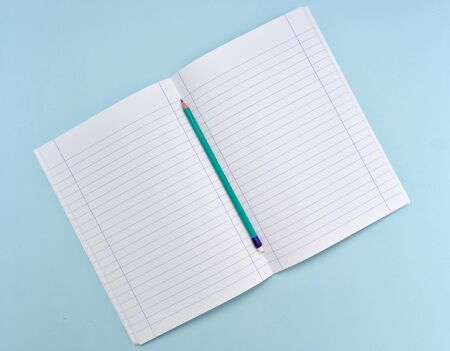 Isolated open blank notebook with lined papers and green pencil on light blue background.