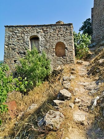 Old deserted ruined medieval village of Anavatos, Chios island, Greece.