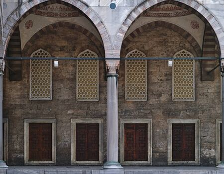 Blue mosque (Sultanhmet camii) internal yard arch symmetry, Istanbul Turkey. Stock Photo