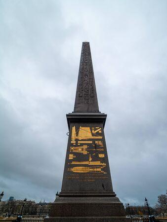 Paris,France, Luxor Obelisk (French: Oblisque de Louxor) is a 23 metres (75 ft) high Ancient Egyptian obelisk standing at the centre of the Place de la Concorde.