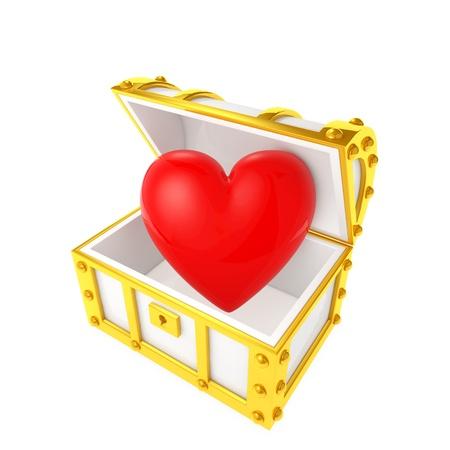 Cofre del tesoro que contiene el corazón Foto de archivo - 21719188