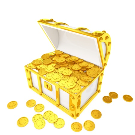 Gold coins treasure box that contains Stok Fotoğraf