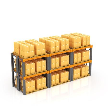 Magazijn met gestapelde dozen op pallets