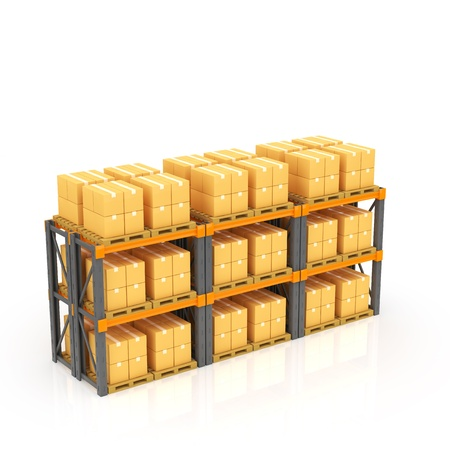 stacked: Warehouse with stacked boxes on pallets