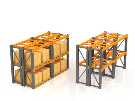 Warehouse with stacked boxes on pallets