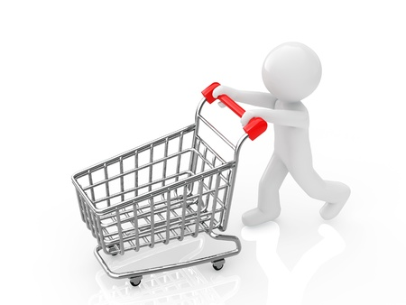 pushcart: Shopper Stock Photo