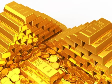 Gold coins and gold bars