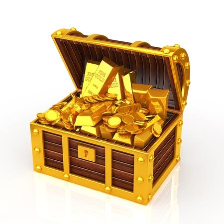 cofre del tesoro: caja de tesoro  Foto de archivo