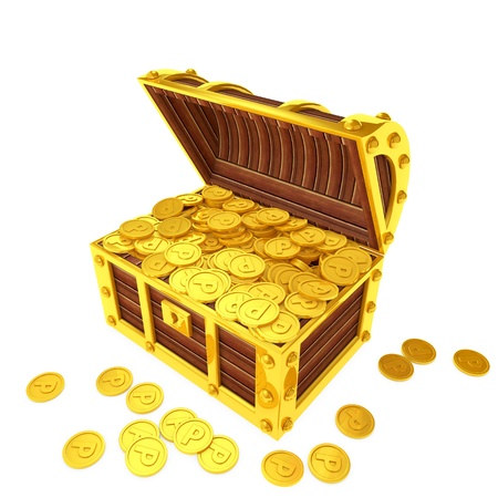 Treasure chest filled with point coins Stok Fotoğraf