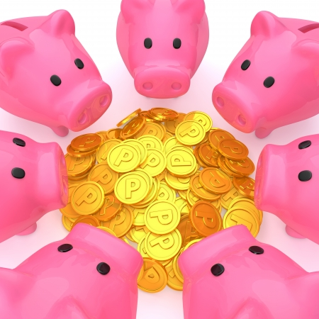 gain: Piggy bank surrounding the point coins Stock Photo