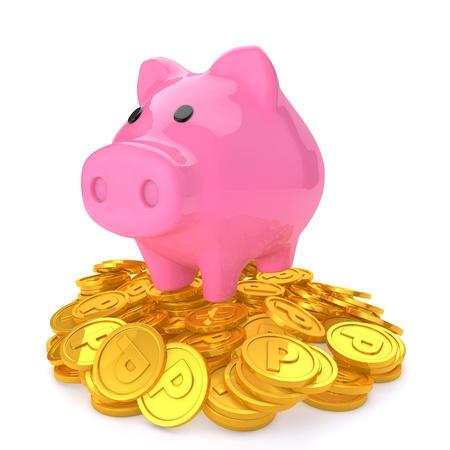貯金箱、ポイントのコインの上部に 写真素材