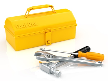 mending: toolbox and tool Stock Photo