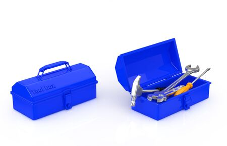 repairer: toolbox and tool Stock Photo