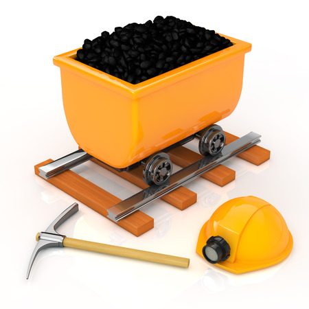 The mining equipment and Dolly on white background