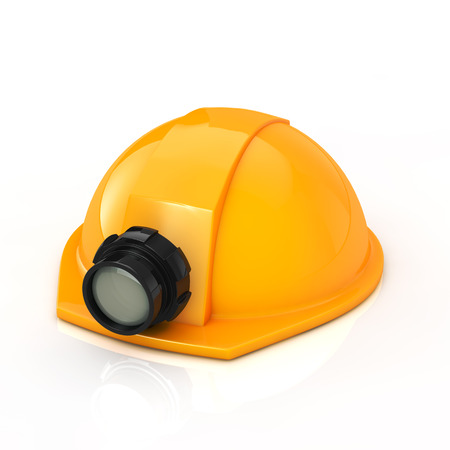 Protection helmet with lamp on white background photo