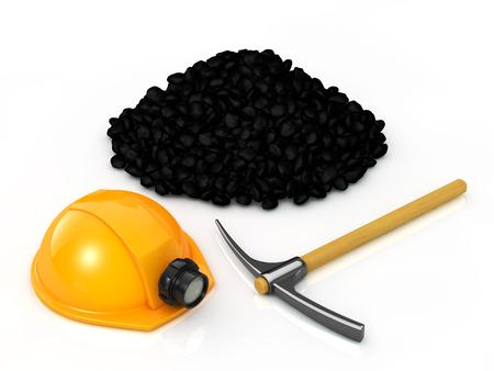 흰색 배경에 광산 장비 및 석탄