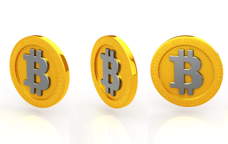 The bit coin three kinds of white background photo