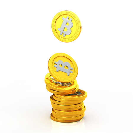 Bit coins stacked on white background