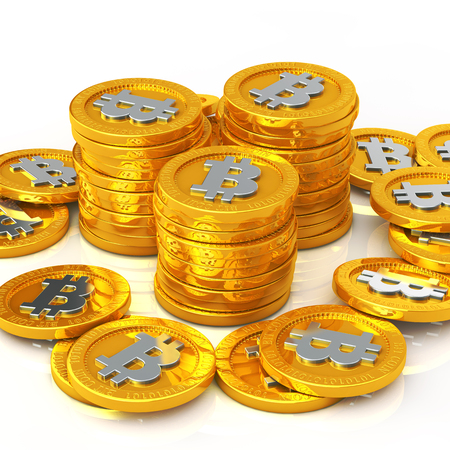 The bit coins on white background