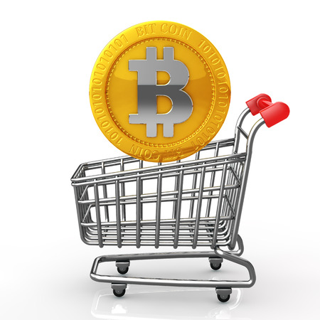 The shopping cart and bit coins  photo