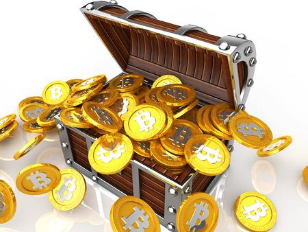 bit: Image of treasure chest full of bit coin Stock Photo