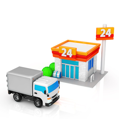 convenience store: Truck to be delivered to the convenience store