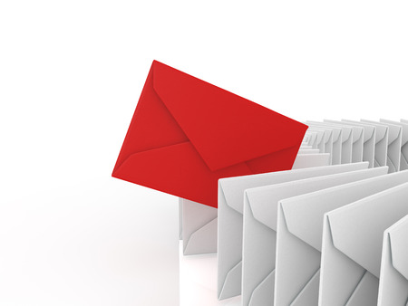 junk mail: Red mail that jump out from the mail in a row Stock Photo