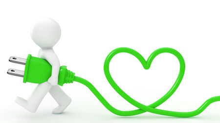 Person is carrying around a plug  Code the shape of the heart  photo