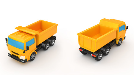 dump body: The two dump truck on a white background Stock Photo