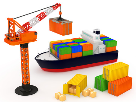 bulk carrier: The loading of the cargo ship on a white background.