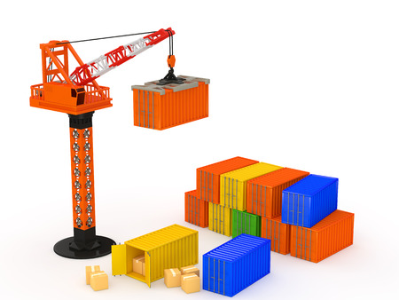 The container and the crane on white background