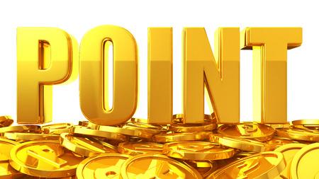 ポイントのコインの上にゴールド ポイントの文字